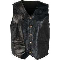 Navarre Mens Black Leather Motorcycle Vest S M L XL 2X 3X 4X 5X