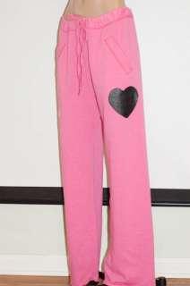 NWT Victorias Secret PINK LOVE PINK Heart Boyfriend Fit Black Sweat