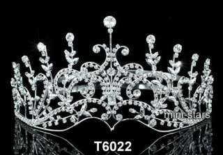 Bridal Wedding Pageant Crystal Silver / Black Tall Tiara Crown