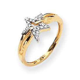 14k Yellow Gold .10 Carat AA Quality Diamond Star Ring in Multiple