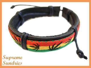 Reggae Marley Marijuana Leaf Hemp Leather Bracelet 644
