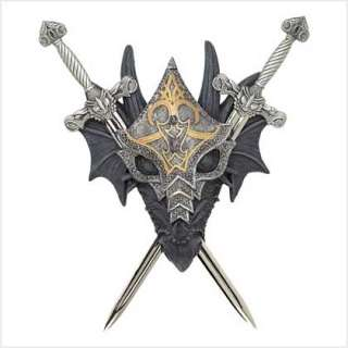 Medieval Armored Dragon Crest Cross Swords Wall Decor