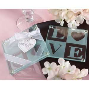 Clearly in Love LOVE Glass Coasters (Set of 2)  Kitchen