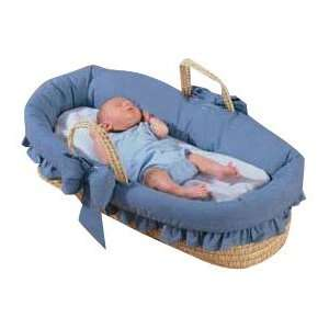 Baby Doll Bedding Denim Moses Basket, Blue Baby