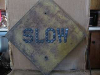 Marble SLOW Sign  Antique Railroad Cat Eye Road Signs 6838