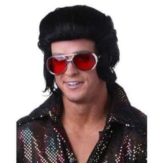 Mens Black Elvis Pompadour Halloween Costume Wig Clothing