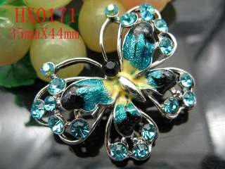 blue Butterfly Rhinestone Crystal&alloy brooch HX0171