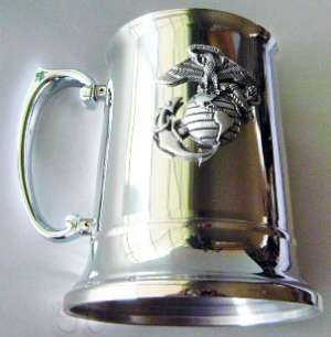 USMC Marine Corps Stein Stainless Steel w Pewter Eagle Globe Anchor