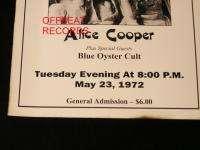 Alice Cooper/Blue Oyster Cult ORIGINAL 5/23/72 Tifton, GA Concert