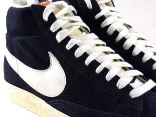 Vintage Navy Blue Suede/Gridiron/White Retro Walking Men Shoes