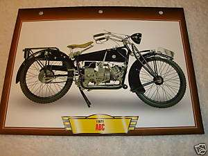 1921 ABC British Motorcycle PRINT 7x10 PICTURE CARD