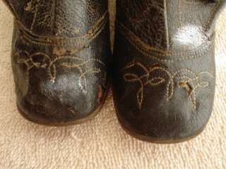 VICTORIAN CHILDRENS CHILD BABY WESTERN/COWBOY BUTTON BLACK BOOTS