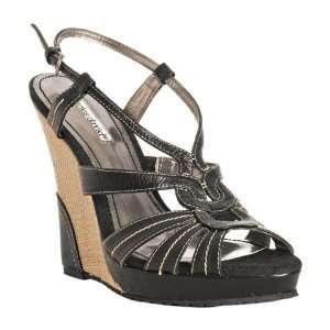 David black leather Awaken raffia wedge sandals