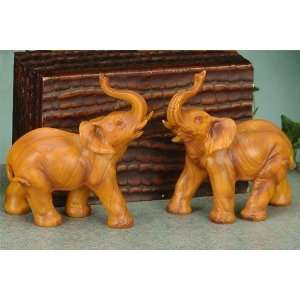 Medium Faux Wood Wooden Elephan Wild Animal Model Figurine Decor