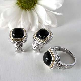 ® Collection 18 Kt Gold Cable 925 Sterling Black Agate Ring