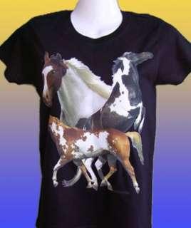 NEW HORSE BREED T SHIRT   Paint Montage   Coloured horses unisex grey