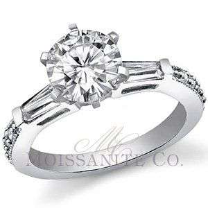 8mm Round & Baguette Moissanite Engagment Ring 2.5ctw