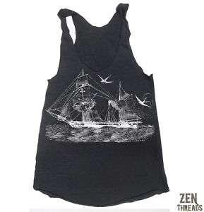 Womens VINTAGE SHIP Tri Blend Tank Top american apparel