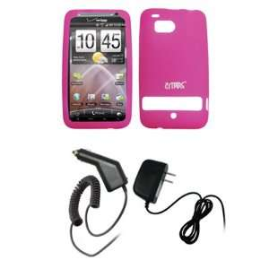 EMPIRE Hot Pink Silicone Skin Cover Case + Car Charger