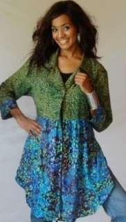 Y363S BLUE GREEN/BLOUSE TOP JACKET 2X 3X 4X BUTTON EMPIRE BABY DOLL