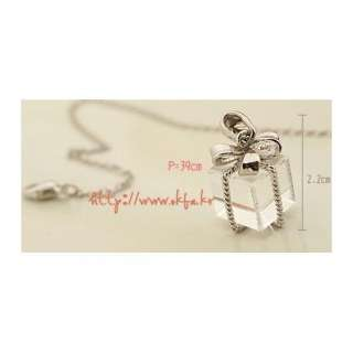 New 2011 Bow Gift Box Necklace Accessory Hot Sale Silver a67