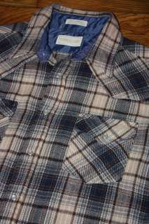 vtg plaid WESTERN pearl snap flannel work shirt