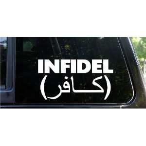 INFIDEL funny die cut decal / sticker USA Army Navy USMC