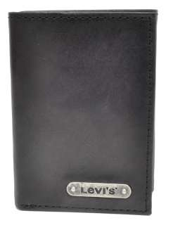Black Leather Traveler Trifold Wallet w/Metal Levis Logo Plate