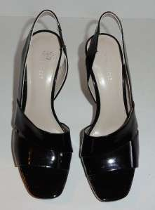 Nine West Womens Black Patent Leather Slingback Heels Size 8 M
