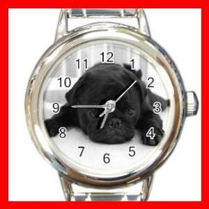 BLACK PUG PET DOG ANIMALS Round Italian Charm Watch