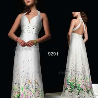 Floral Printed Charming Bridal Open Back Rhinestone Fashion Gowns