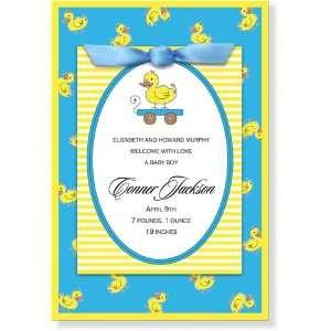 Boy Baby Shower Invitations   Hes Ducky LIl Quacker Ribbon Invitation