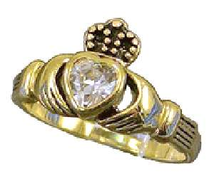 18kt Gold gp Ladies Clear Crystal Ring Sz 5 10 Claddagh