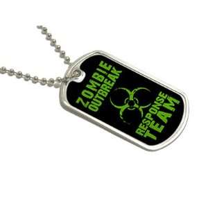Zombie Outbreak Response Team Green   Dog Tag Keychain