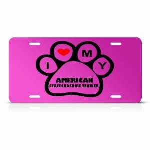 American Staffordshire Terrier Dog Dogs Pink Animal License Plate Sign