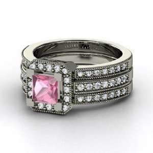 Va Voom Ring, Princess Pink Tourmaline 14K White Gold Ring