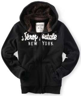 Aeropostale mens AERO Applique Fur full zip hoodie jacket coat S,M,L