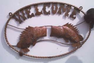 Vintage Look Welcome Fish Rustic Sign Cabin Fishing