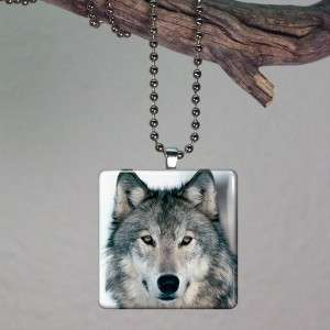 Wolf Head Altered Art Glass Tile Necklace Pendant 169