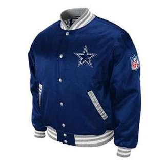 NFL Dallas Cowboys Screen Satin Jacket Mitchell & Ness Throwback Blue