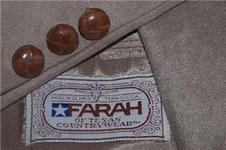 38R Farah WESTERN BROWN POLY SUEDE 2 Button sport coat jacket suit