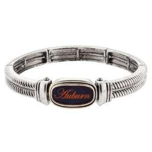 , Silver Tone Stretch Bracelet with Auburn University Logo Jewelry