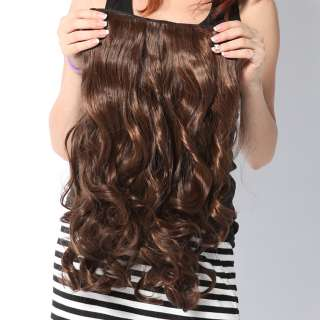 Appealing with 5 clips One Piece long curly wavy Hair Wig in 3 Clors