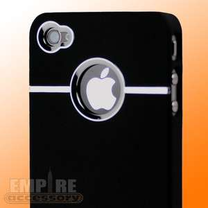 CHROME SLIM LOGO HARD CASE COVER BLACK for Apple iPhone 4 4G Att GSM