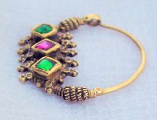 ANTIQUE COLLECTIBLE TRIBAL OLD GOLD NOSE RING NOSEPIN PENDANT INDIA