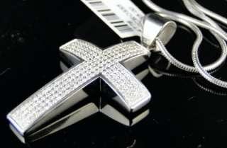 STEEL PAVE ROUND CUT DIAMOND CROSS PENDANT + CHAIN ARCTICA