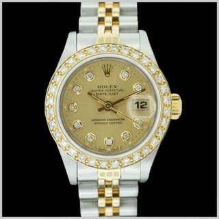 ROLEX LADIES DATEJUST TWO TONE CHAMPAGNE DIAMOND DIAL
