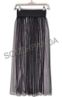 SL335 Black Punk Rock Gothic Lace Tulle Long Skirt