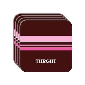 Personal Name Gift   TURGUT Set of 4 Mini Mousepad Coasters (pink