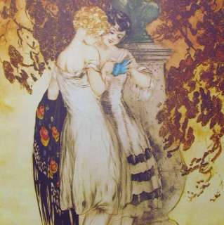 Art Deco Women SIGNED Louis ICART Rare Lithograph SALE